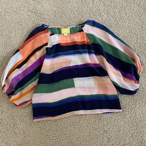 Anthropologie Maeve Silk Cropped Blouse